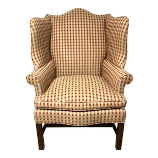 Hickory Chair Reupholstered Wingback Chair For Sale