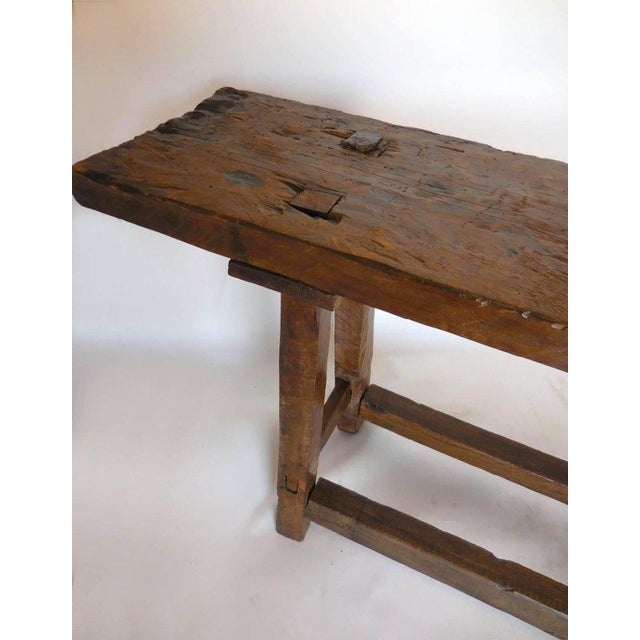 Rustic 19th Century Wooden Console Table For Sale - Image 3 of 9