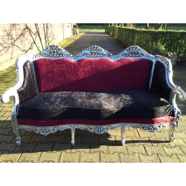 Red & BlackVelvet Baroque Sofa - Image 7 of 8