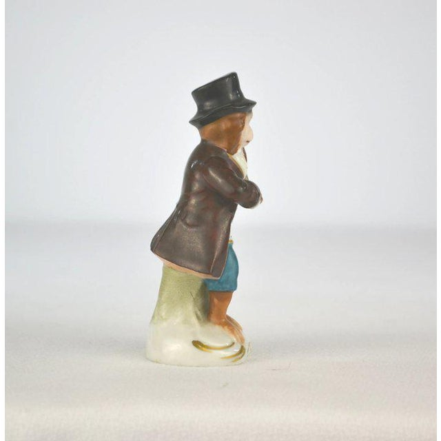 1910s Antique Porcelain Monkey Musician, from Germany, Brown Coat For Sale - Image 5 of 8