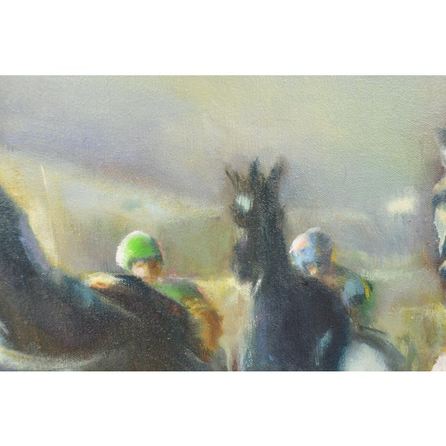 Large Original Oil Painting of Harness Horse Race - Image 3 of 7