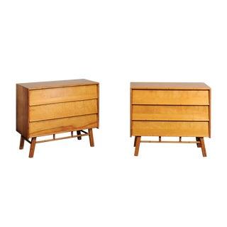 Elegant Restored Pair of Modern Maple Chests by John Stuart, Circa 1950 For Sale