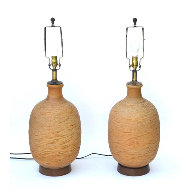 Mid-Century Modern Bob Kinzie Ceramic Large Table Lamp Pair For Sale - Image 3 of 6