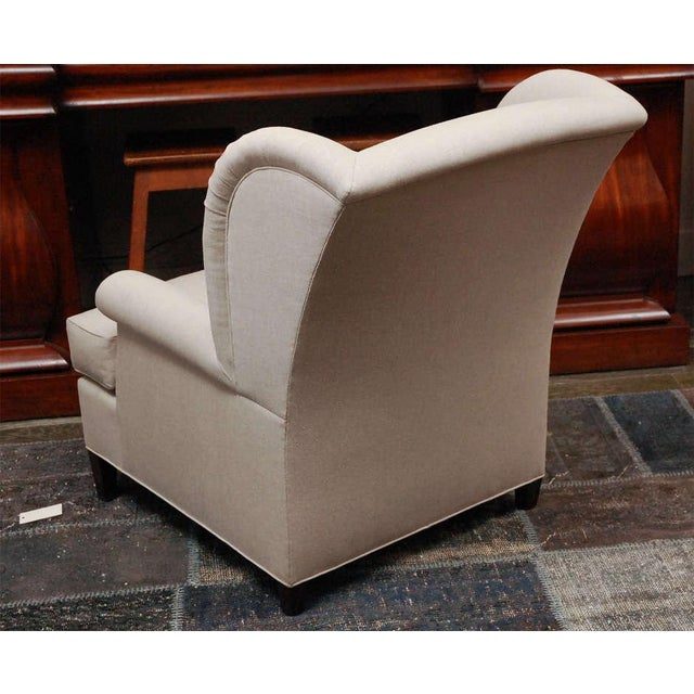 """Worrell"" by Lee Stanton English Wing Chair in Belgian Linen or Custom Fabric For Sale - Image 9 of 11"