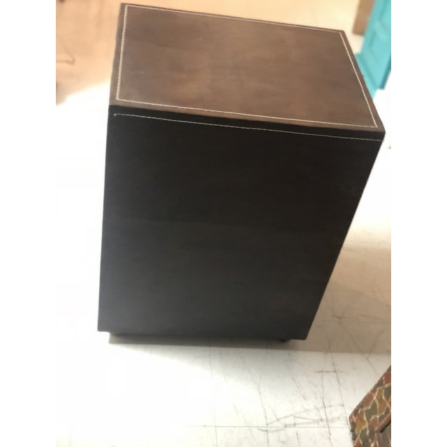 Boho Chic Mid-Century Modern Brown Leather Chest of Drawers For Sale - Image 3 of 9