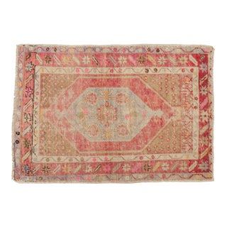 "Vintage Distressed Oushak Rug - 2'9"" X 3'11"" For Sale"