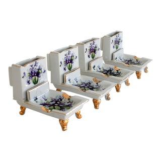 Vintage Porcelain Ashtrays S/4 For Sale