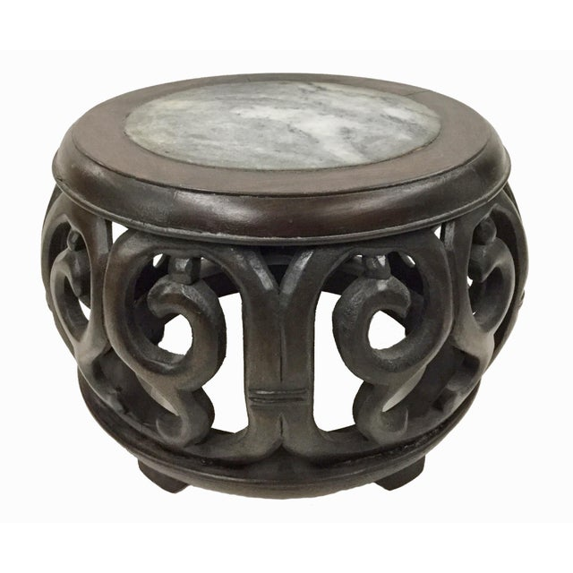 Brown Chinese Rosewood Marble Carved Plant Stand For Sale - Image 8 of 8