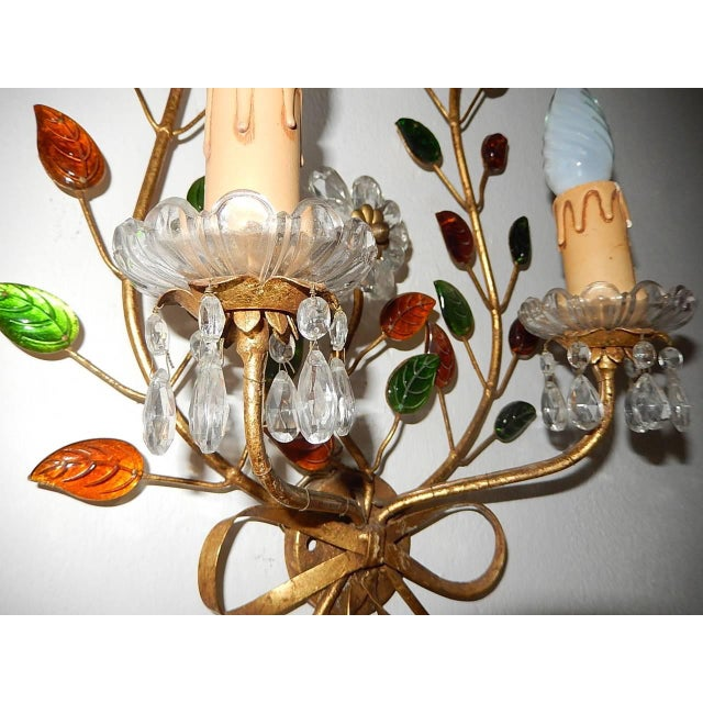 1920s French Maison Bagues Style Colored Floral Beaded Sconces For Sale - Image 5 of 10