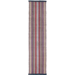 1960s Turkish Vertical Striped Handloomed Wool Kilim Rug For Sale