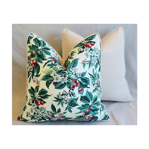 "Green Custom Tailored Schumacher Cherry Blossom Feather/Down Pillows 23"" Square - Pair For Sale - Image 8 of 11"