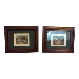 English Fox Hunting Antique Prints by G. Morland & Engraved by E. Bell, Framed - a Pair For Sale