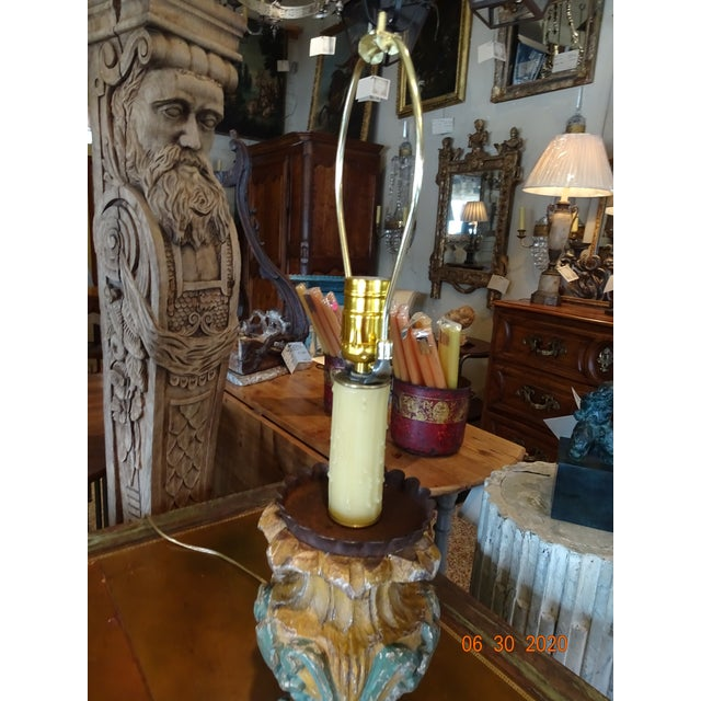 Metal 19th Century Italian Hand Carved Acanthus Motif Lamps - a Pair For Sale - Image 7 of 10