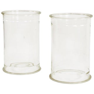 Glass Cylinders or Plinths - a Pair For Sale