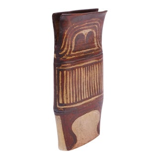 Tall Vintage Stoneware Flared Vase Attributed to Polk For Sale
