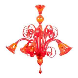 Mid-Century Modern Venetian Crystal Chandelier For Sale