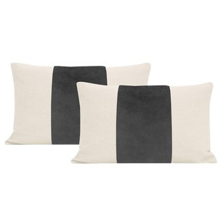 "12""x 18"" Graphite Velvet Panel & Linen Lumbar Pillows - a Pair For Sale"