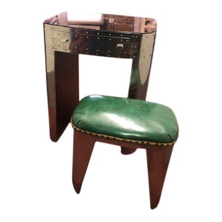 Industrial Aviator-Style Telephone/Vanity Table & Stool - 2 Pieces For Sale