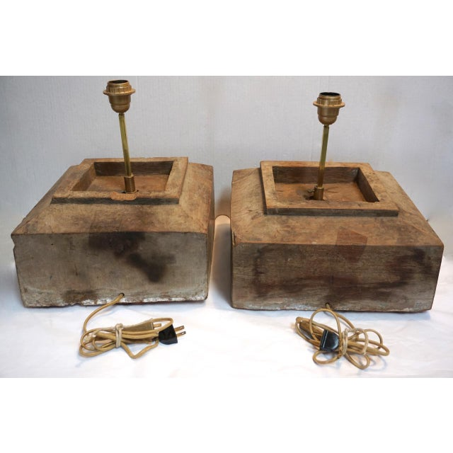 Antique Solid Hewn Wood Block Lamps-Pair For Sale - Image 4 of 13