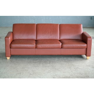 Danish Mid Century Modern Sofa in Brown Leather Preview