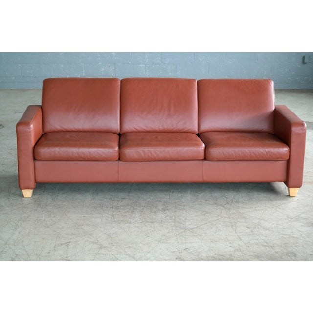 Børge Mogensen style sofa in brown leather, designed and likely produced sometime in the 1970s. Very good condition with...