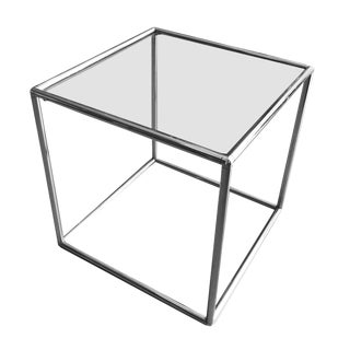 Retro Tubular Chrome Side Table- Glass Top