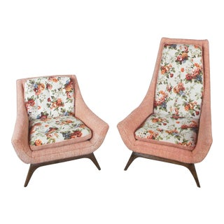 Mid Century Modern Adrian Pearsall His & Hers Lounge Chairs - a Pair For Sale