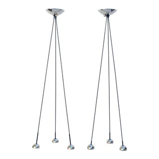 Nickel Torchiere Floor Lamp by Koch & Lowy - A Pair For Sale