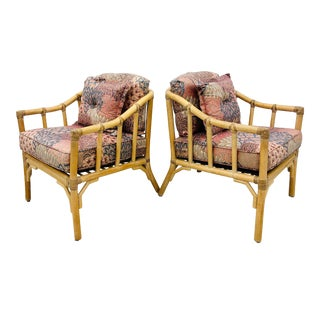 Pair Vintage Ficks Reed Rattan Arm Chairs For Sale