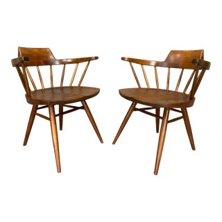 Vintage Mid Century George Nakashima Pair of Captain's Armchairs- A Pair For Sale
