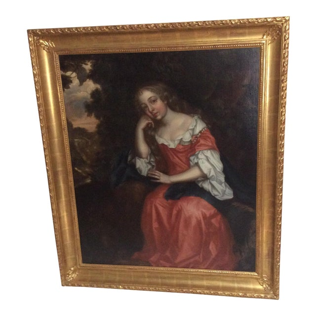Antique Painting of a Young Woman For Sale