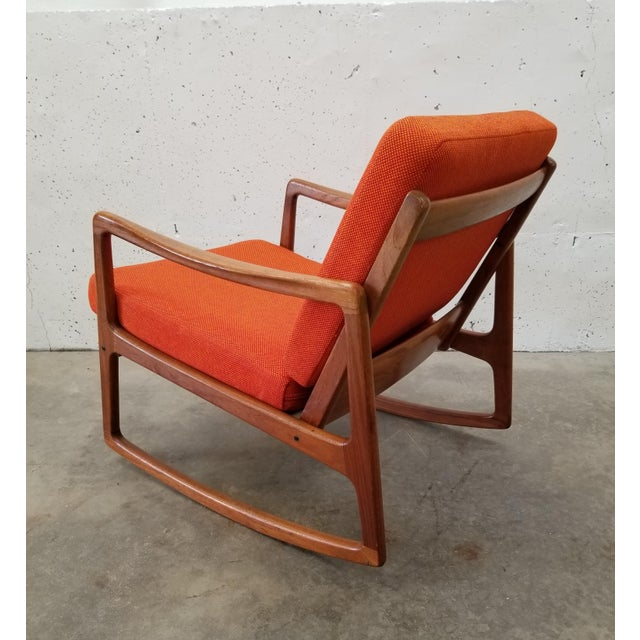 1960s 1960s Danish Modern Sculpted Teak Rocking Chair For Sale - Image 5 of 10
