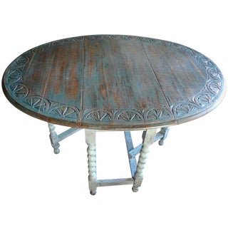 English 19th Century Country Oak Hand-Carved Drop-Leaf Gate-Leg Oval Table For Sale