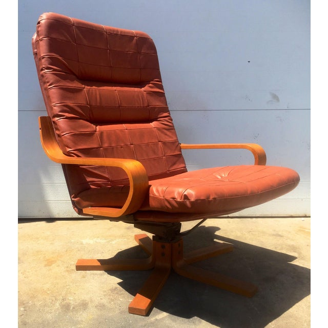 Vintage Teak & Leather Adjustable Lounge Chair - Image 2 of 8
