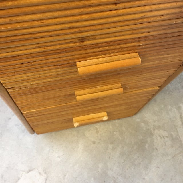 1980s Monumental Split Reed/Bamboo Writing Table or Desk For Sale - Image 9 of 13
