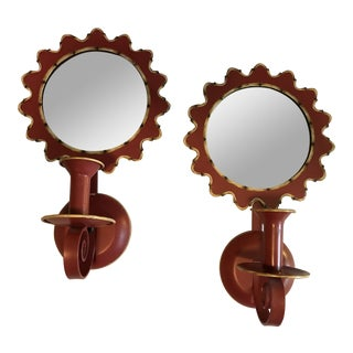 Red Tole Mirrored Sconces for Candles Imported by Jeanne Reed - a Pair For Sale