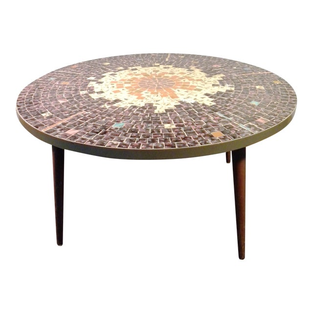 Vintage Mid Century Mosaic Coffee Cocktail Accent Table - Image 1 of 7