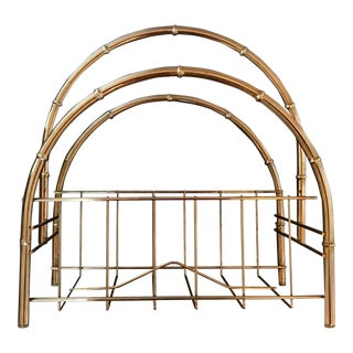 Vintage Silver Metal Faux Bamboo Design Magazine Rack