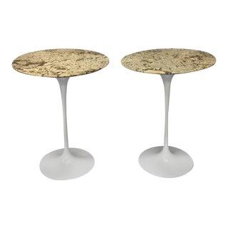 Pair of Custom Stone Top Iron Base Saarinen Knoll Tulip Tables For Sale