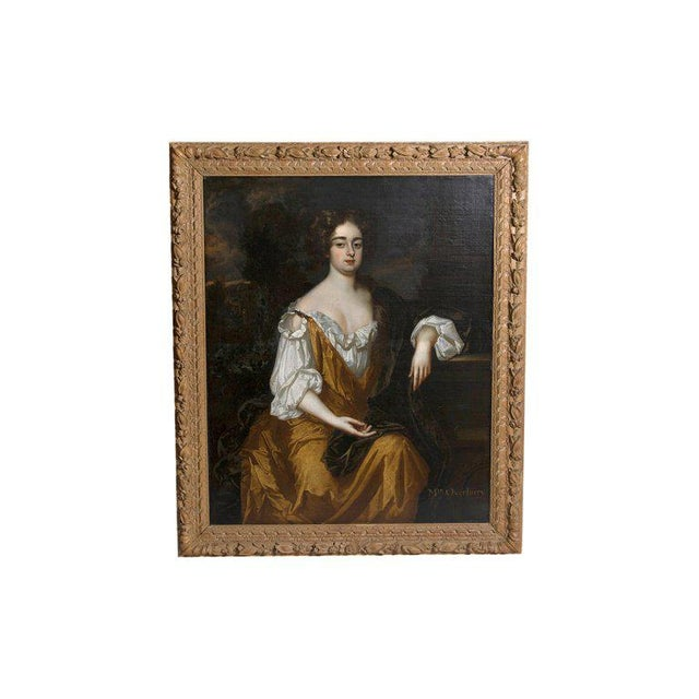 18th Century English Portrait of Mrs. Overbury Circle of Sir Godfrey Kneller For Sale - Image 13 of 13