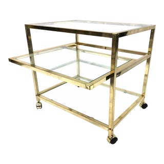 1970s 3-Tier Glass and Gold Tone Bar Cart For Sale