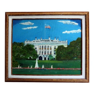 Vintage Original Folk Art of the White House & American Flag Oil Painting For Sale