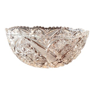 Traditional Design Heavy Cut Glass Bowl For Sale