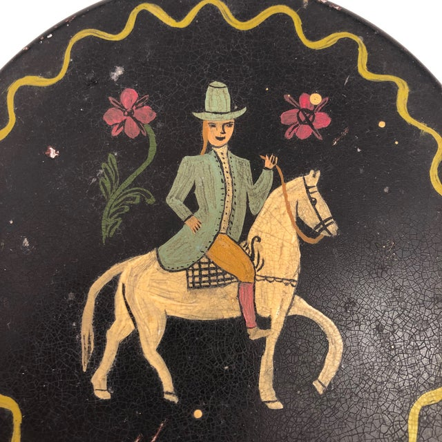 Americana Early 20th Century Antique Hand-Painted Woman on Horse Round Tin Box For Sale - Image 3 of 10