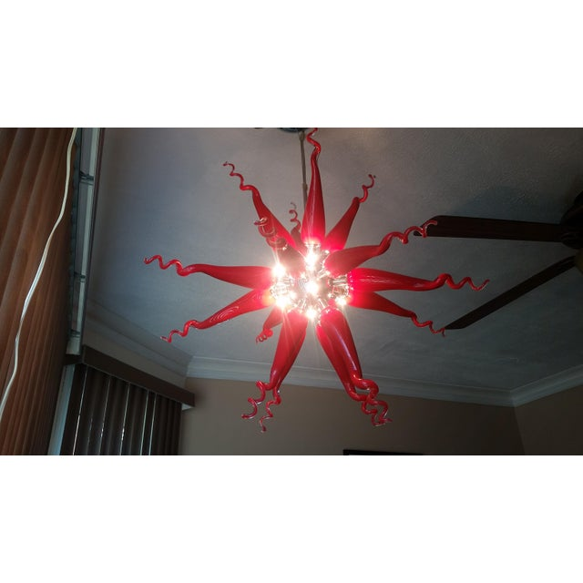 Beautiful Red Modern Blown Glass Chandelier - Image 2 of 7
