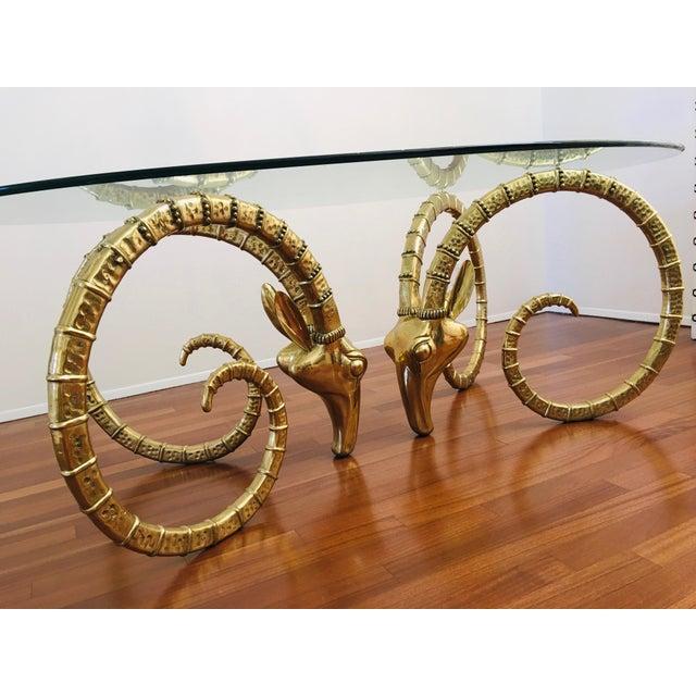 Vintage Brass Ram's Head / Gazelle Alain Chervet Style Hollywood Regency Dining Table For Sale - Image 11 of 13