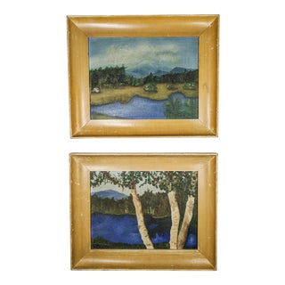 Charming Antique Oil Landscapes With Wood Frames. Pair of 2