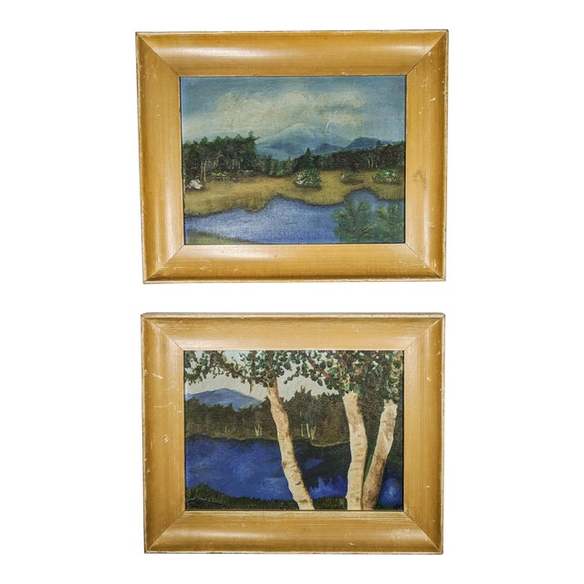 Charming Antique Oil Landscapes With Wood Frames. Pair of 2 For Sale