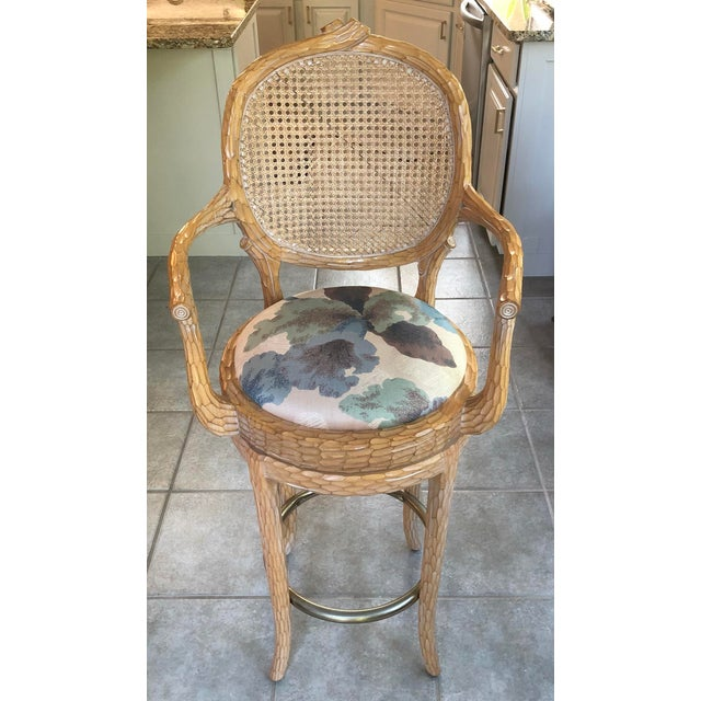 A gorgeous and unusual set of 4 vintage faux bois caned bar stools. Faux bois (from the French for false wood) refers to...