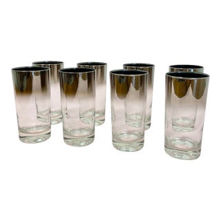 Mid-Century Dorothy Thorpe Silver Fade Ombré Highball Glasses - Set of 8 For Sale